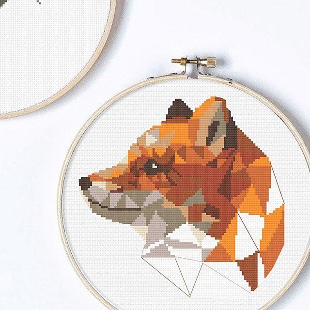 Geometric Fox cross stitch pattern shop link at my profile Joint ...