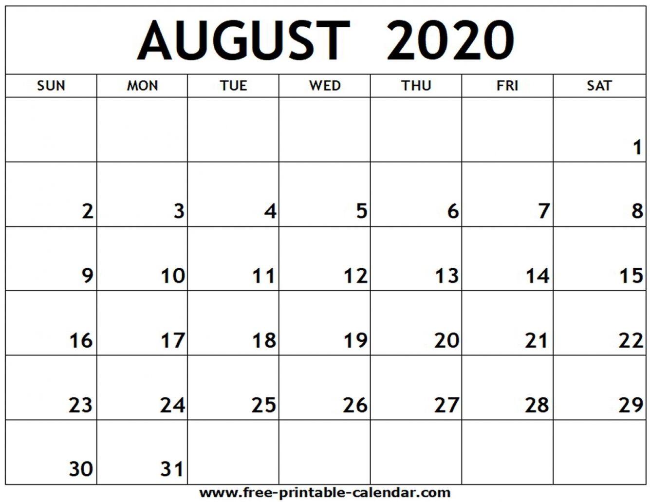 August 2020 Printable Calendar Dengan Gambar