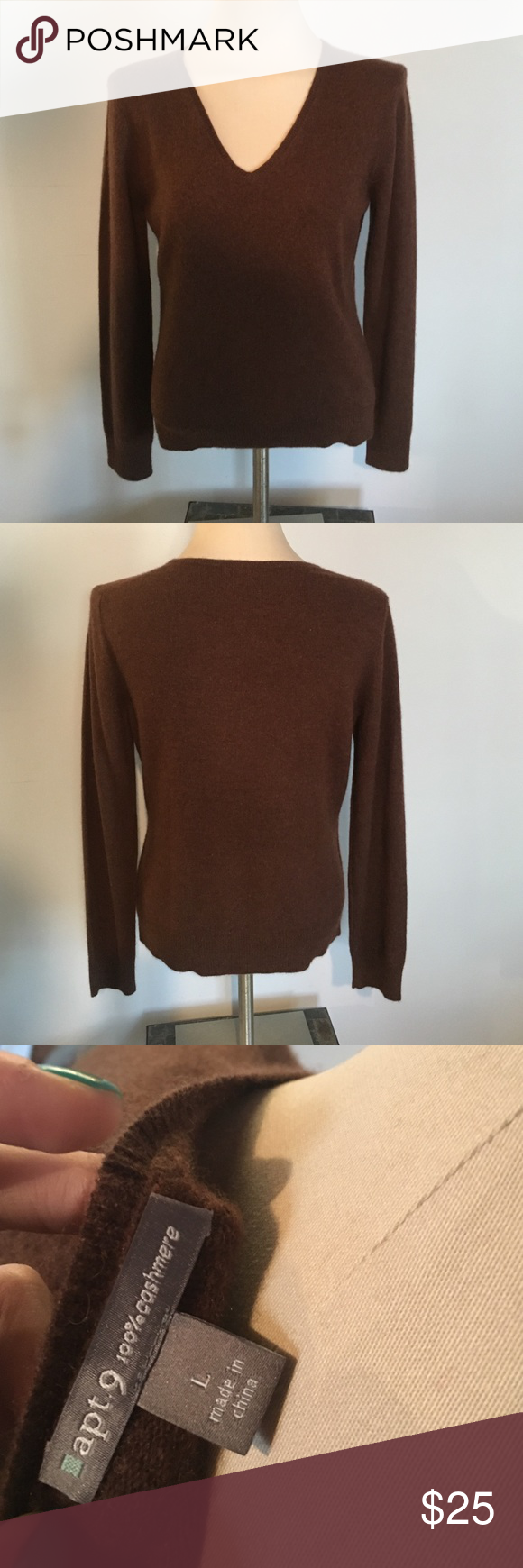 Apt 9 Brown 100% Cashmere Sweater Size Large Beautiful brown v-neck 100% cashmere sweater from Apt 9. Worn once. In like new condition! Apt. 9 Sweaters V-Necks
