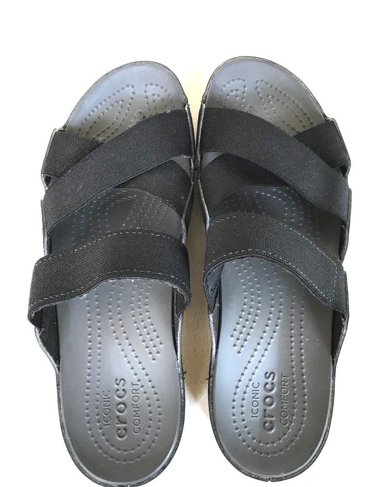 Crocs Iconic Comfort Black Elastic Strap Toe Womens Sandals Size 9 Euc Fashion Clothing Shoes Accessories Womensshoes Sandal Womens Sandals Sandals Crocs
