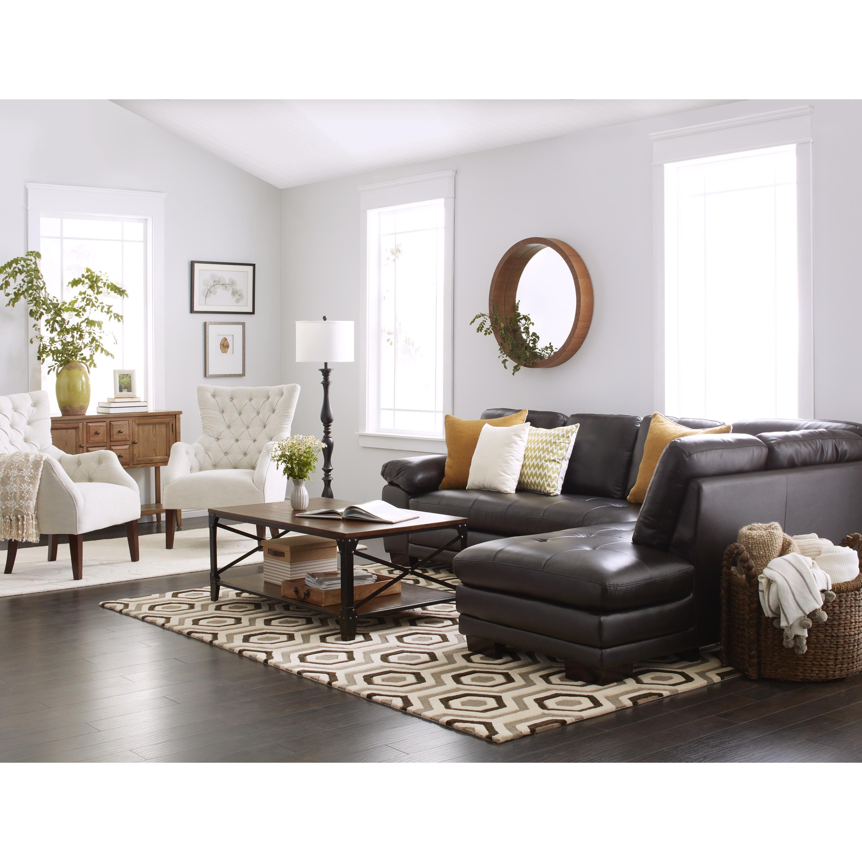 Everett Tufted Leather Settee In 2019: Abbyson Devonshire Leather Tufted Sectional (Brown)