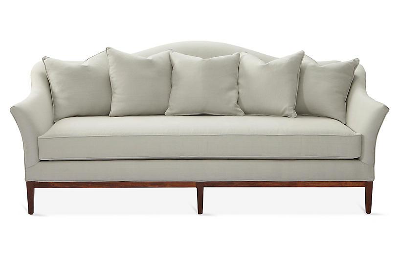 Eloise Camelback Sofa Sea Glass Linen With Images Sofa Frame