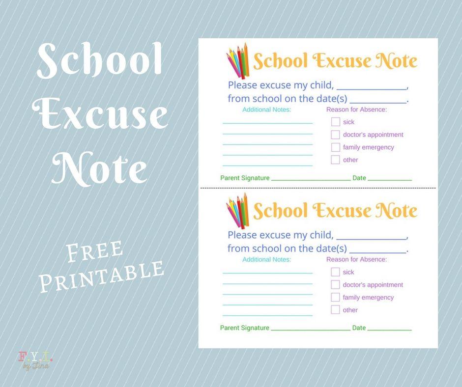 School excuse note free printable school organization