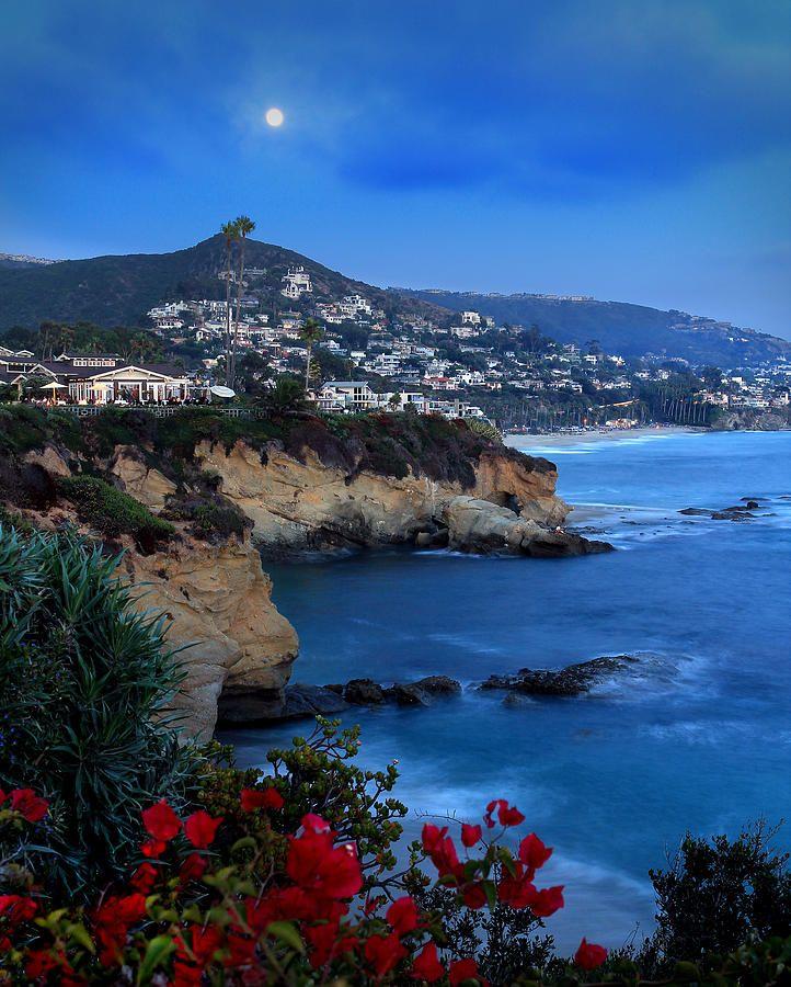 Treasure Island Laguna Beach: Moonrise Over Treasure Island Beach By Dave Sribnik