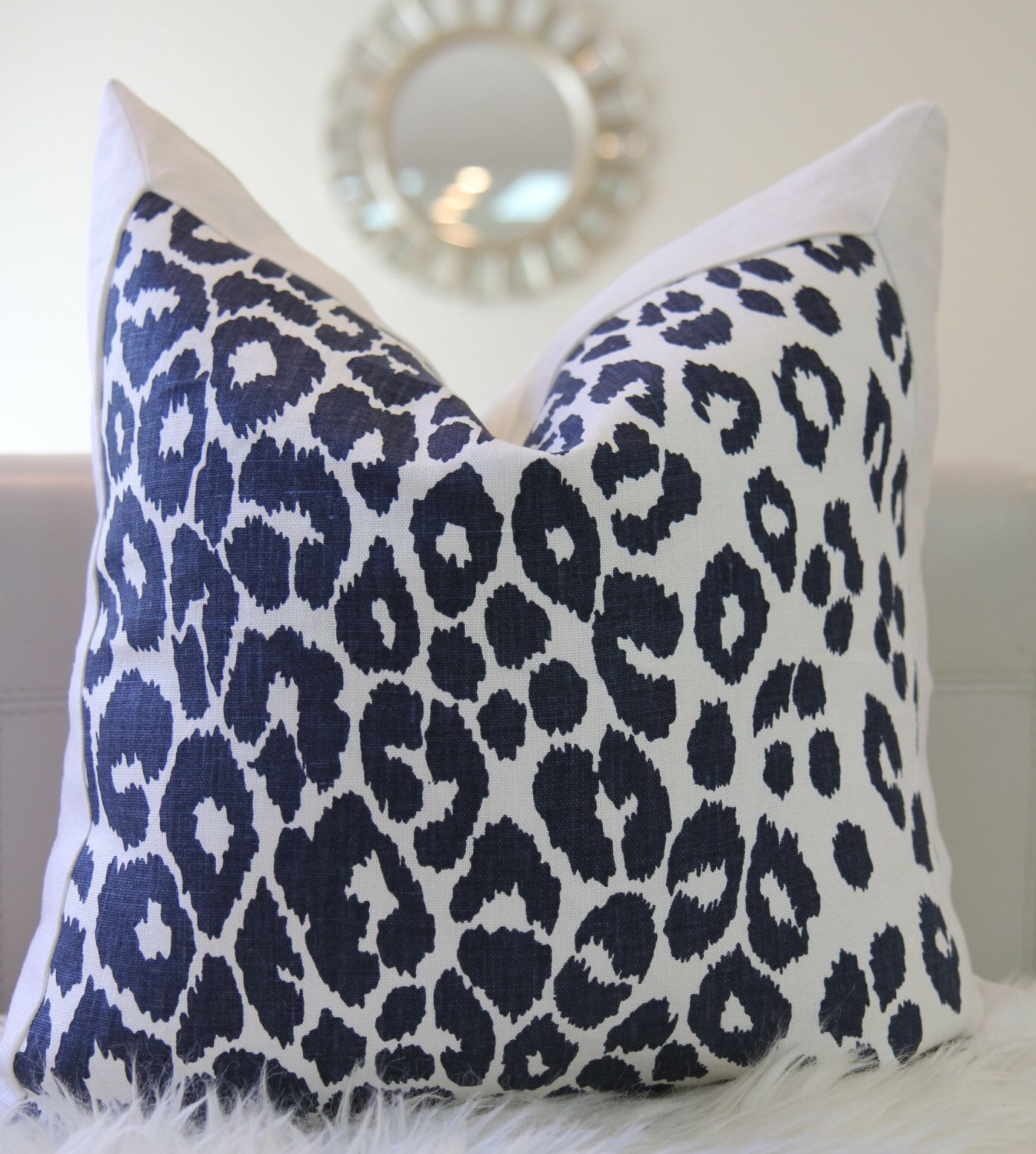 Etsy Throw Pillows 19x19 Schumacher Iconic Leopard Ink Flawed As It Is Navy Pillow