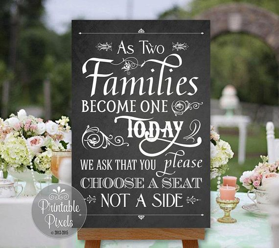 Printable Pick A Seat Not A Side Wedding Sign, Chalkboard Style, As ...