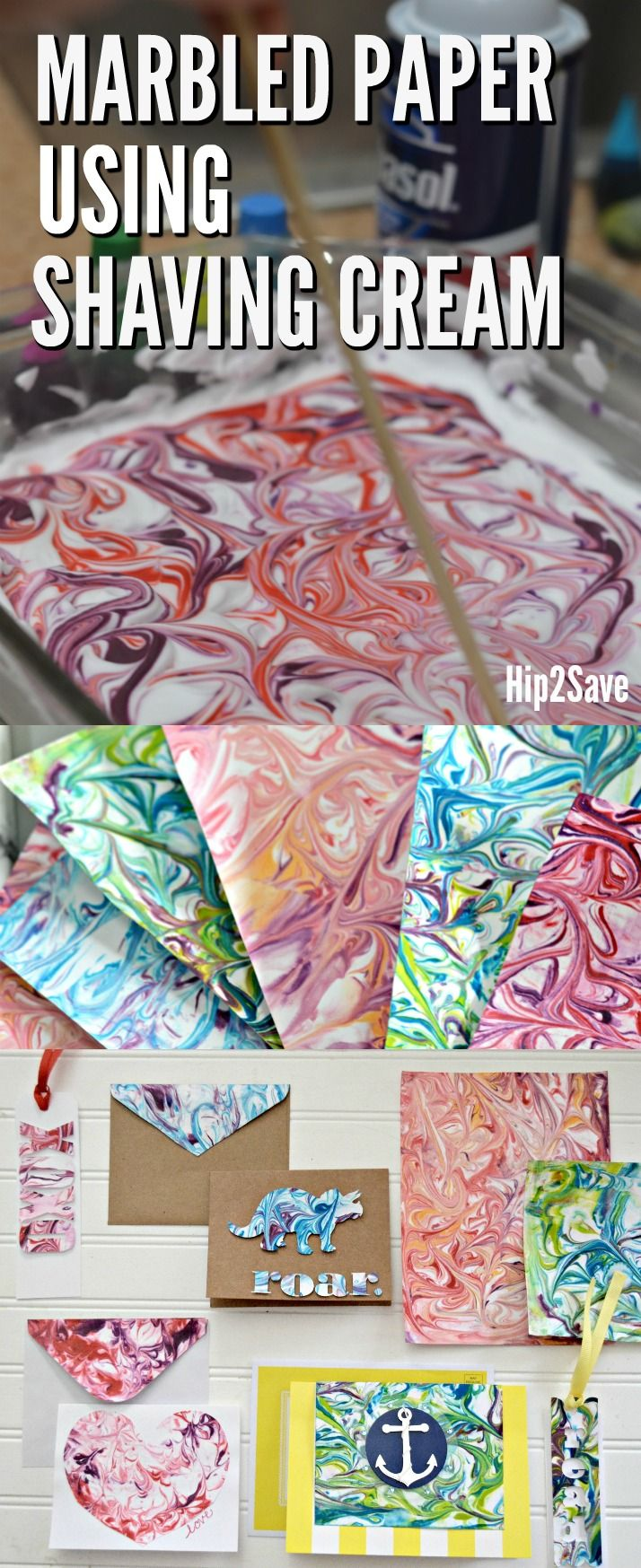 How to Marble Paper Using Shaving Cream (FUN Craft Idea!) - Hip2Save -   19 diy projects For Boys food coloring ideas