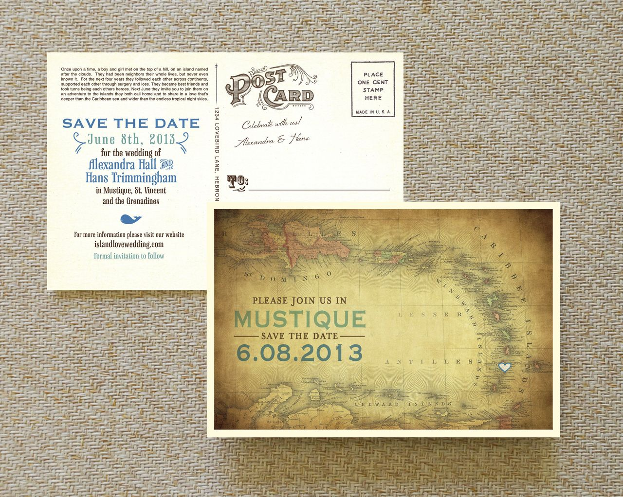 Vintage Map Postcard Save the Date (Mustique) Save the