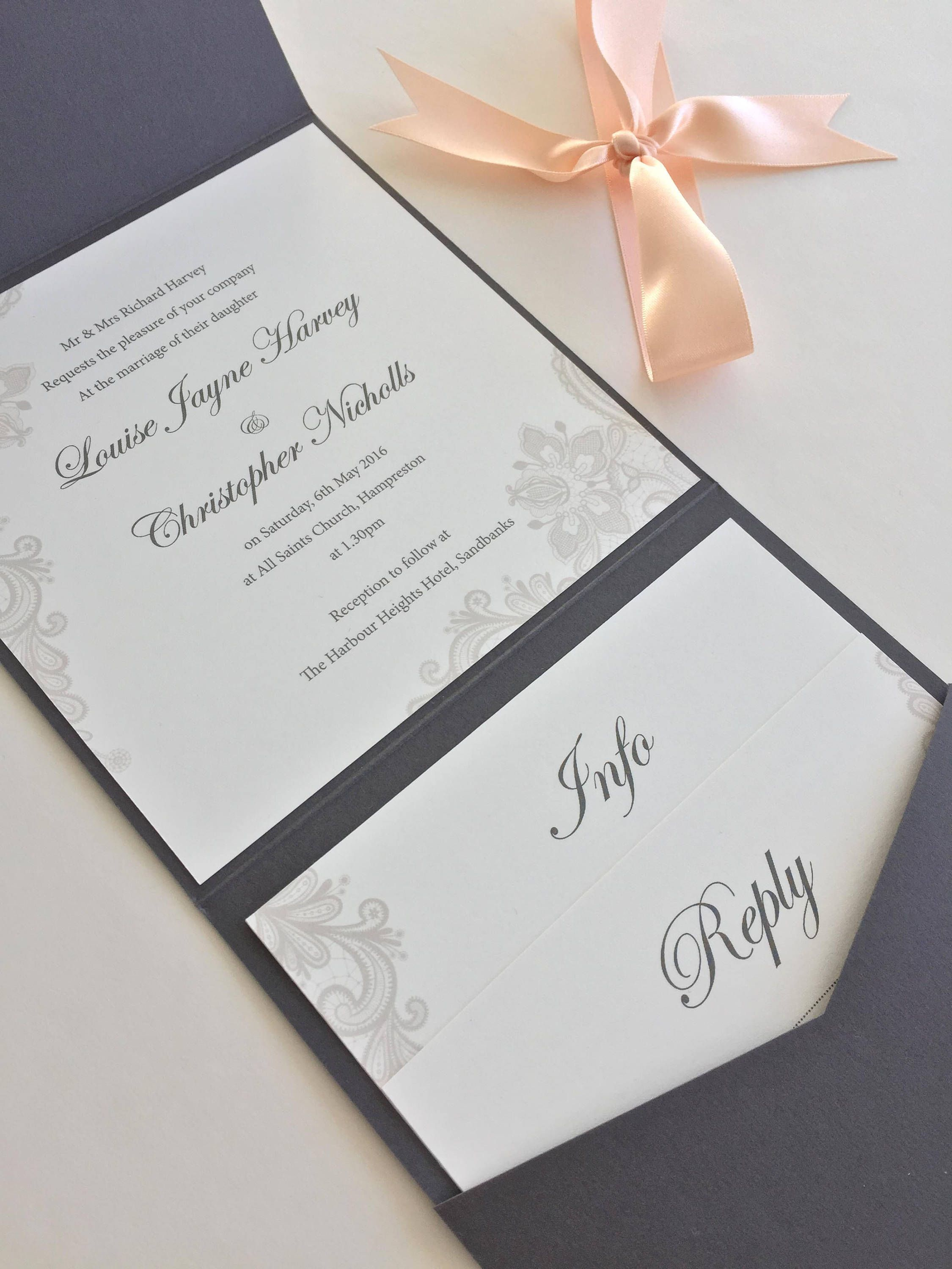 Pearlescent Grey Lace Print Design Pocketfold Wedding Invitation ...