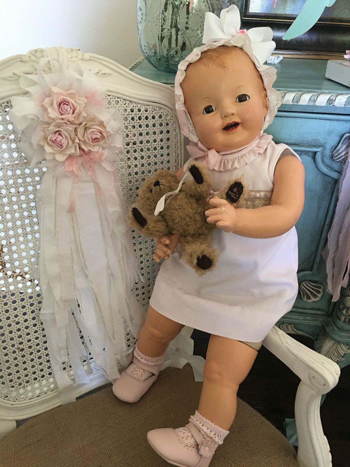 "ORIGINAL EFFANBEE ""LOVUMS"" PAT NO 1283558 - 28"" COMPOSITION BABY DOLL - BEAUTIFUL!!"