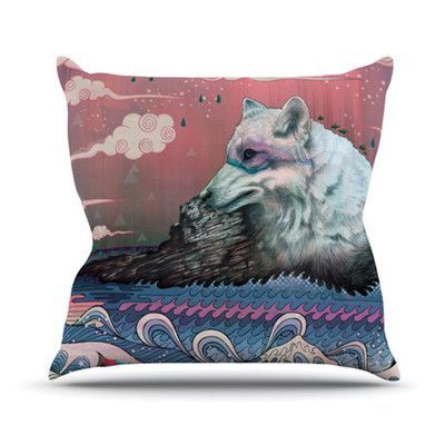 KESS InHouse Lone Wolf Throw Pillow Size: