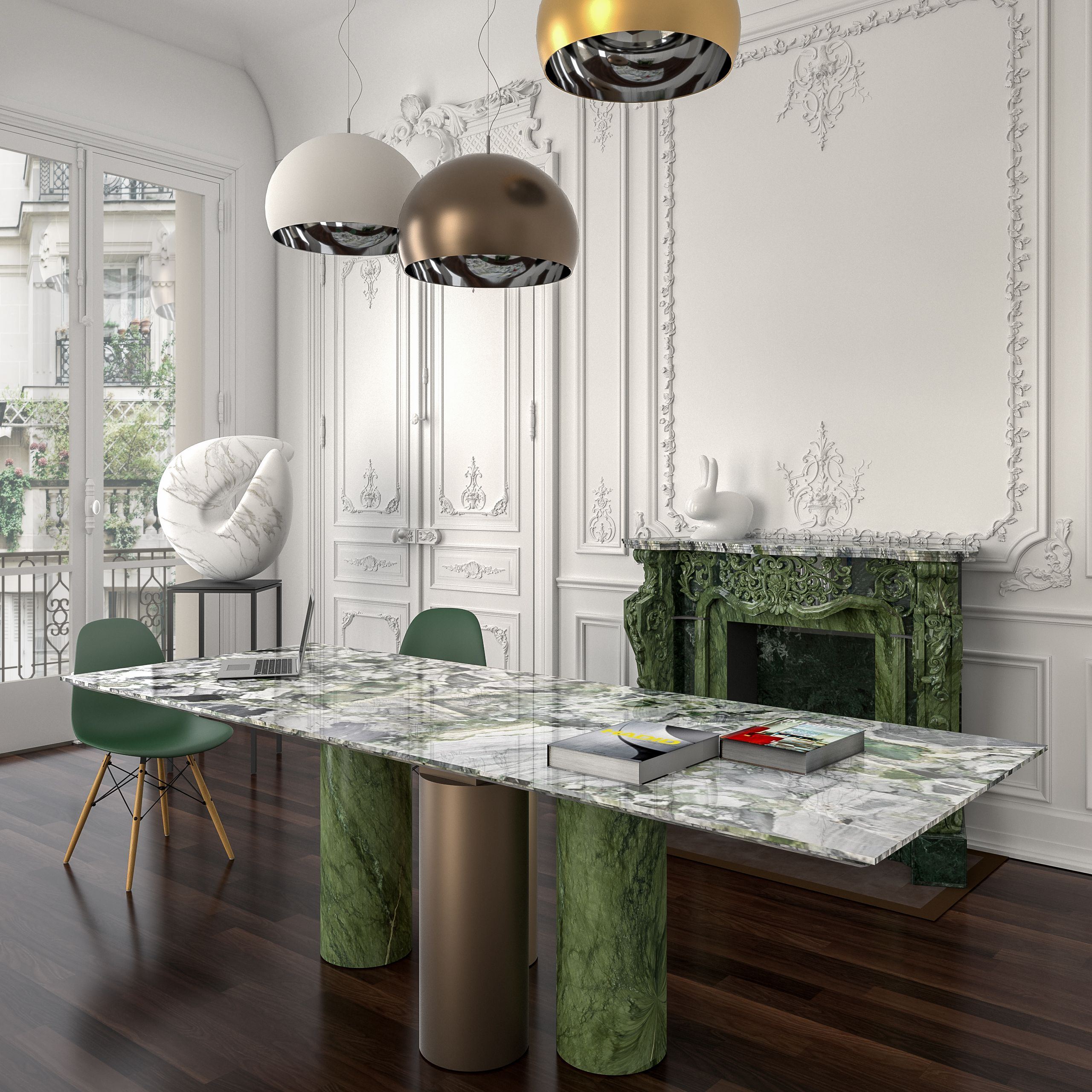 """The powerful expression and the infinite nuances of #stone: Kreoo's Arcaico table designed by Enzo Berti with legs in Verde Ming and metal,  top in White Beauty, an exotic #marble with a unique blend of white, grey, black and green. """"Nodo Sciolto"""