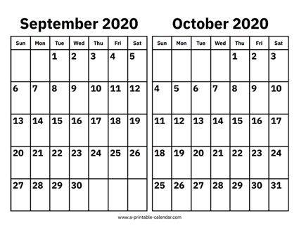 Download This 2020 September And October Calendar As A Simple Printable Pdf A Basic Two Month Calend Calendar March September Calendar Calendar 2019 Printable