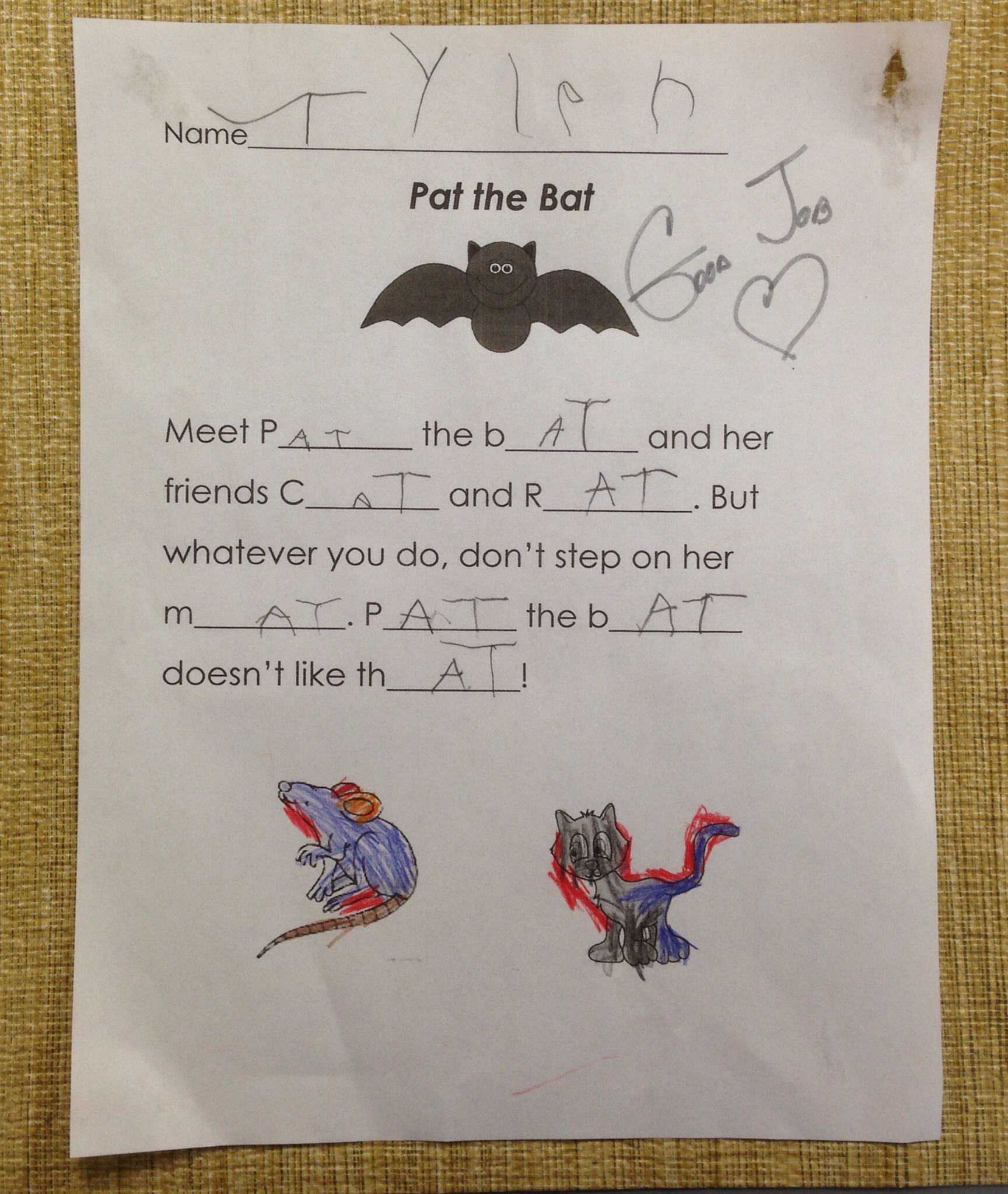 Pat The Bat Poem Children Focused On The At Family