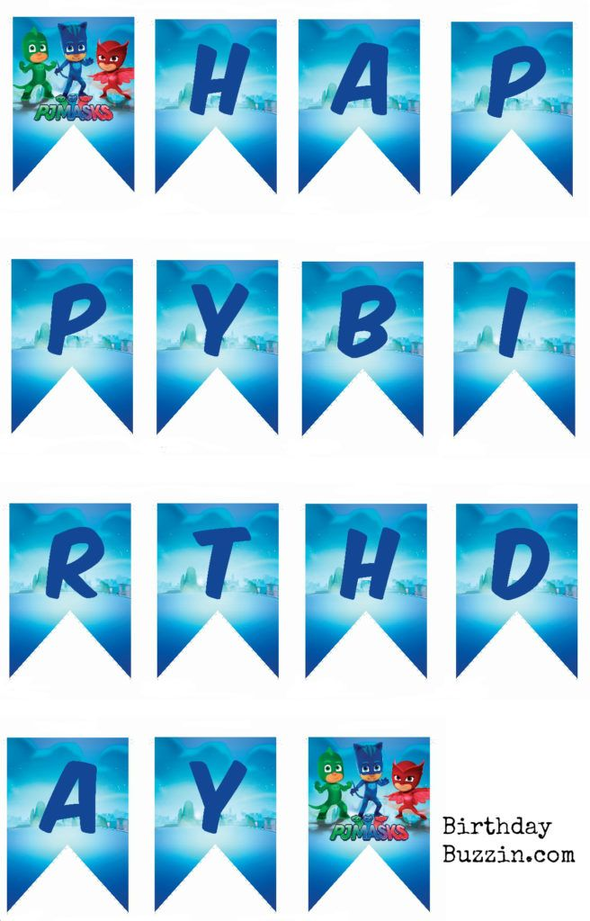 photograph about Free Printable Birthday Banner Templates titled Absolutely free Printable PJ Masks Birthday Banner Little one Bash