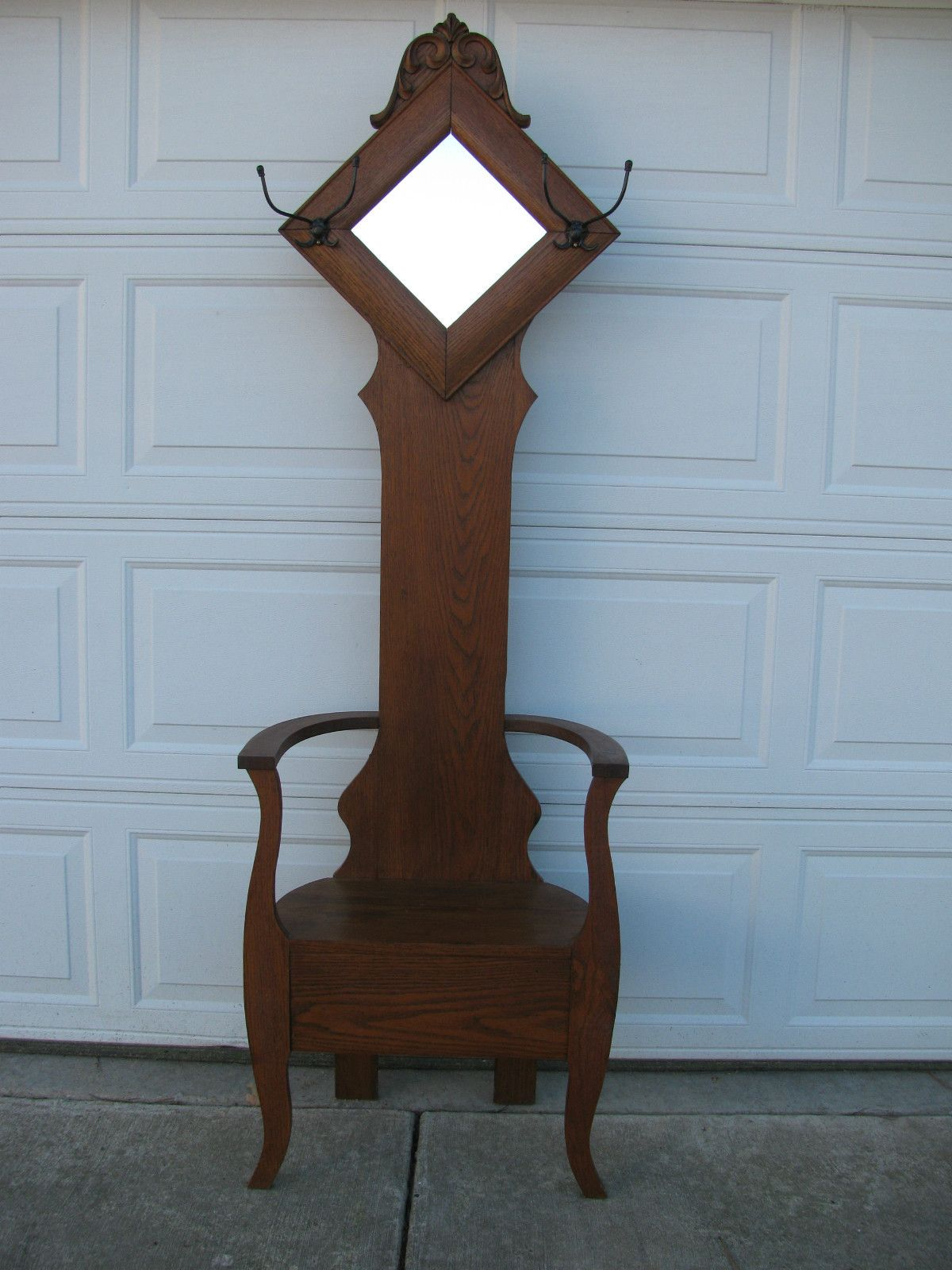 Details About Antique Hall Seat Coat Tree Stand With Beveled Mirror Storage Bench Oak Rare