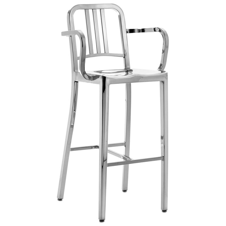 Peachy Emeco Stool Navy Barstool Arms Polished Us Navy American Caraccident5 Cool Chair Designs And Ideas Caraccident5Info