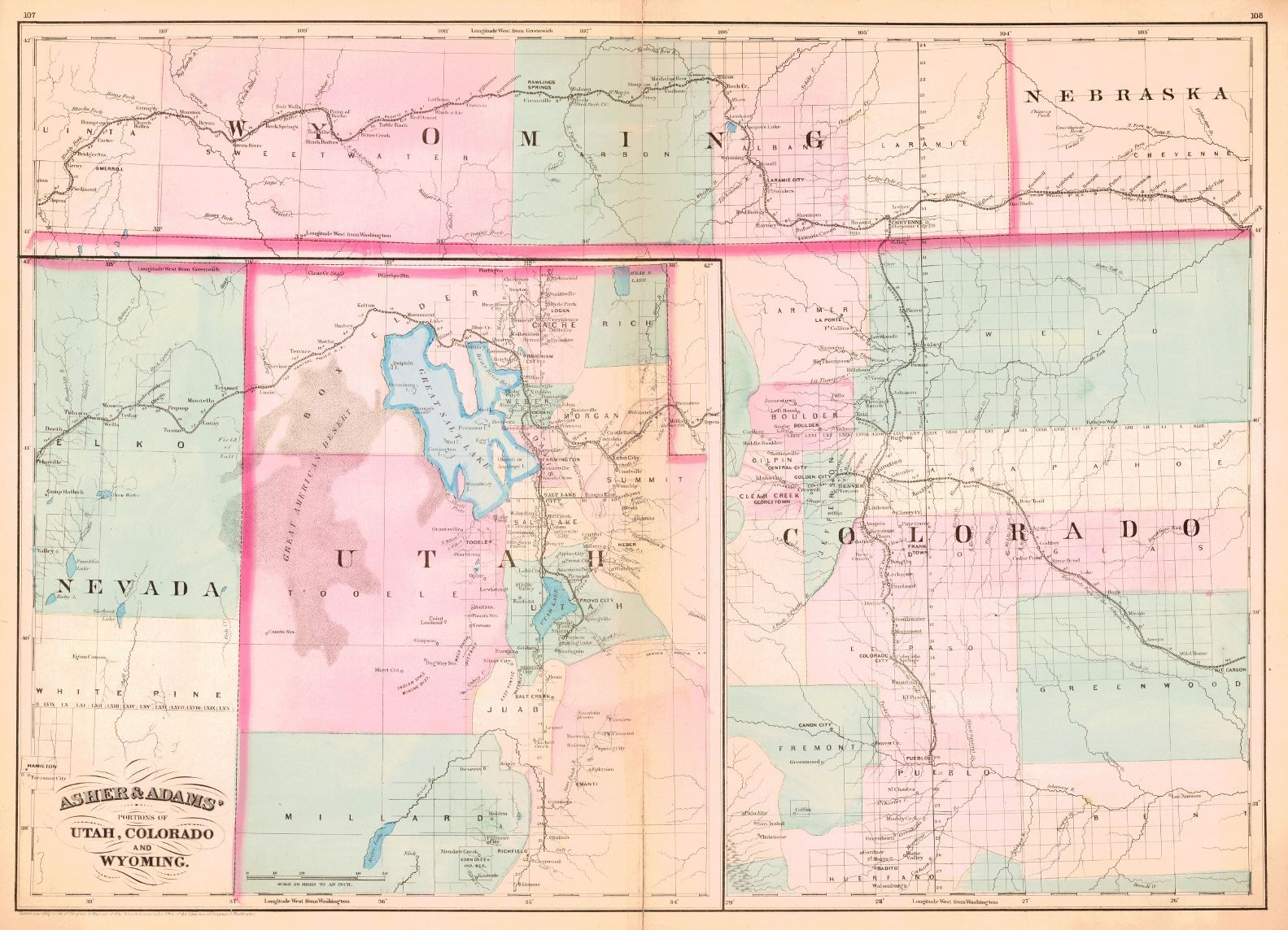 Asher & Adams\' Portions of Utah, Colorado and Wyoming. c1872 ...