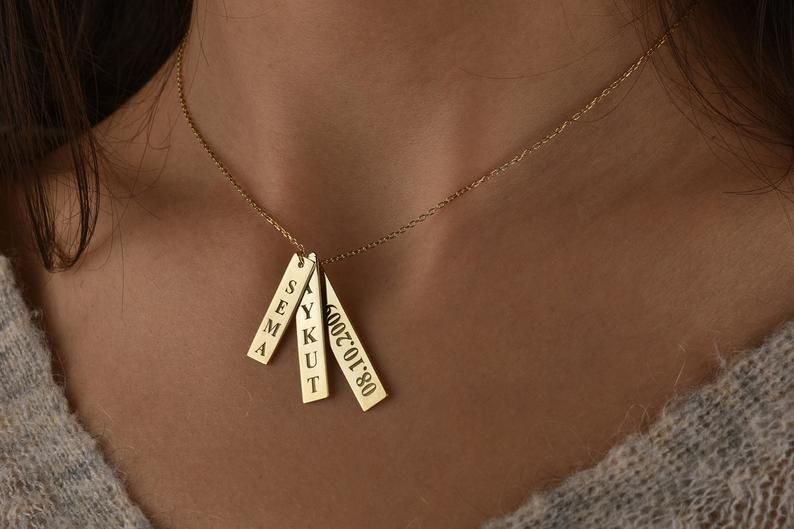14k Gold Personalized Bar Necklace Vertical Necklace Name Necklace Gift Personal Custom Engraved Necklace Personalized Engraved Necklace Custom Bar Necklace
