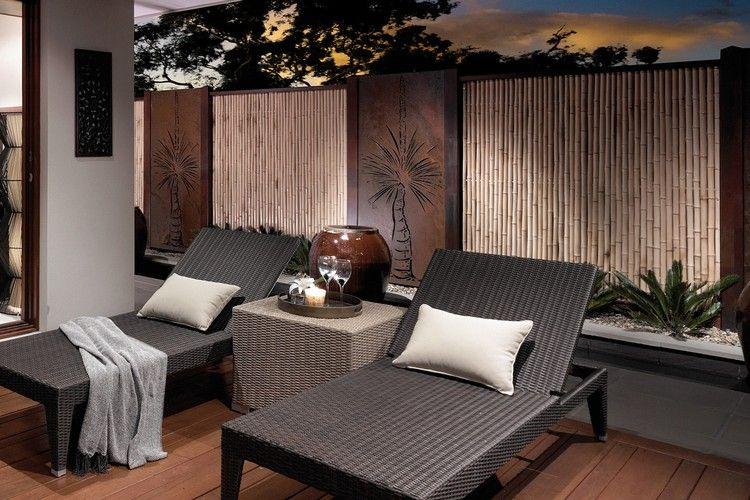 Moderner Sichtschutz Garten  Cortenstahl Palme Motive Bambus Stangen Sonnenliegen