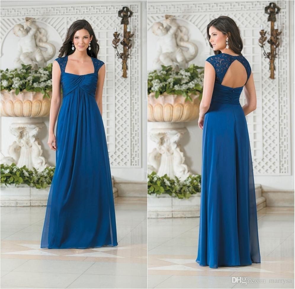 Blue new hot sweetheart neckline lace bridesmaid dresses pleated