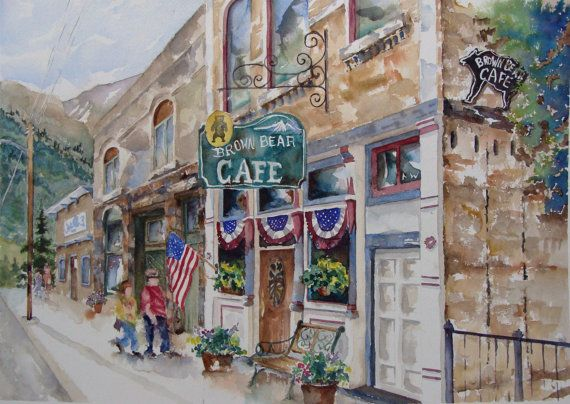 city scene Colorado street original by WatercolorsByAmyC on Etsy, $250.00