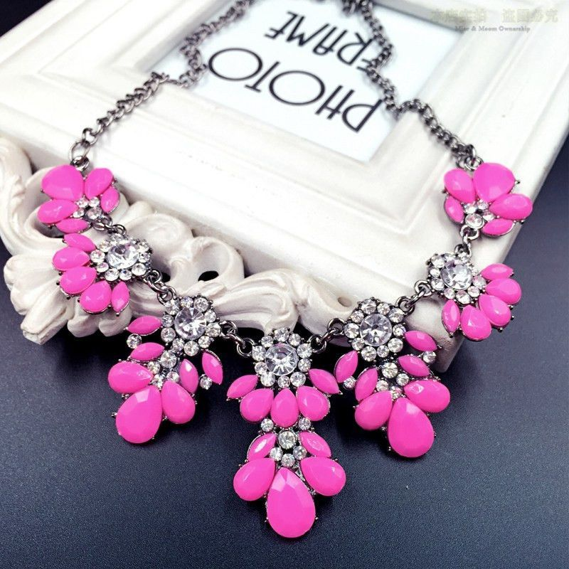 Moon Yellow Shourouk Flower Crystal Drop Shorts Chains Collar Choker Statement Necklaces Fashion Jewelry For Women