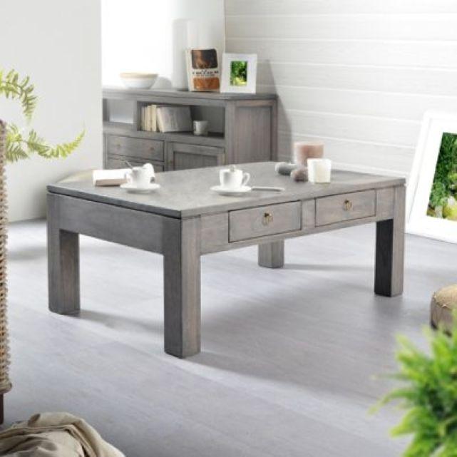 Table de salon en pin gris Bello 100x60 Tikamoon prix promo La ...   {Table de salon grise 40}