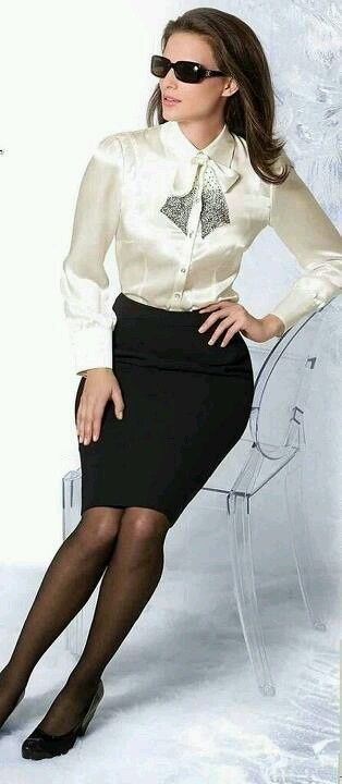 f10f464600 White Satin Blouse Black Pencil Skirt Stockings and High Heels More