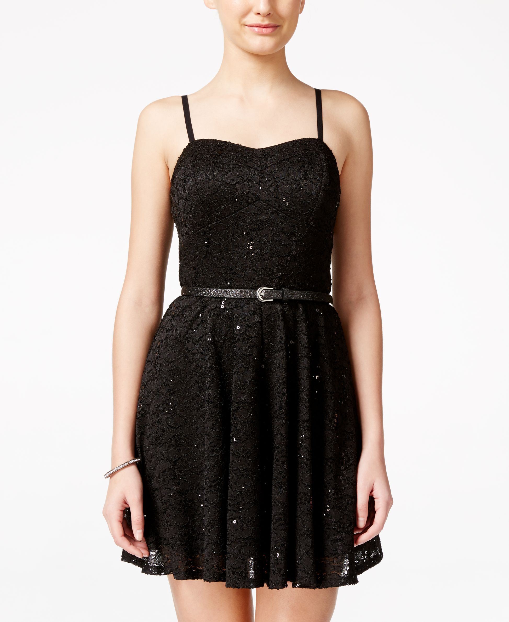 As u wish juniorsu sequin lace fitandflare party dress with belt