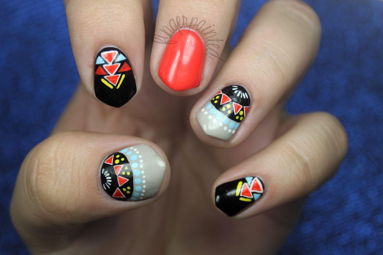 Cool Tribal Geometric Pattern Nail Art Design Idea With Bright