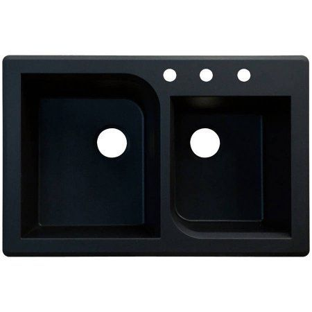 Transolid 33 inch x 22 inch Top Mount Radius Granite Kitchen Sink, Available in Various Colors, Black