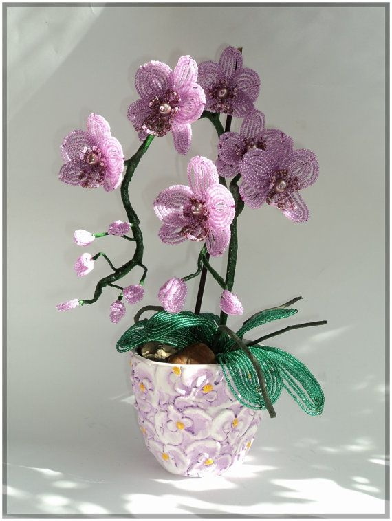 French Beaded Artificial Topiary Orchid Plant Flower in ...