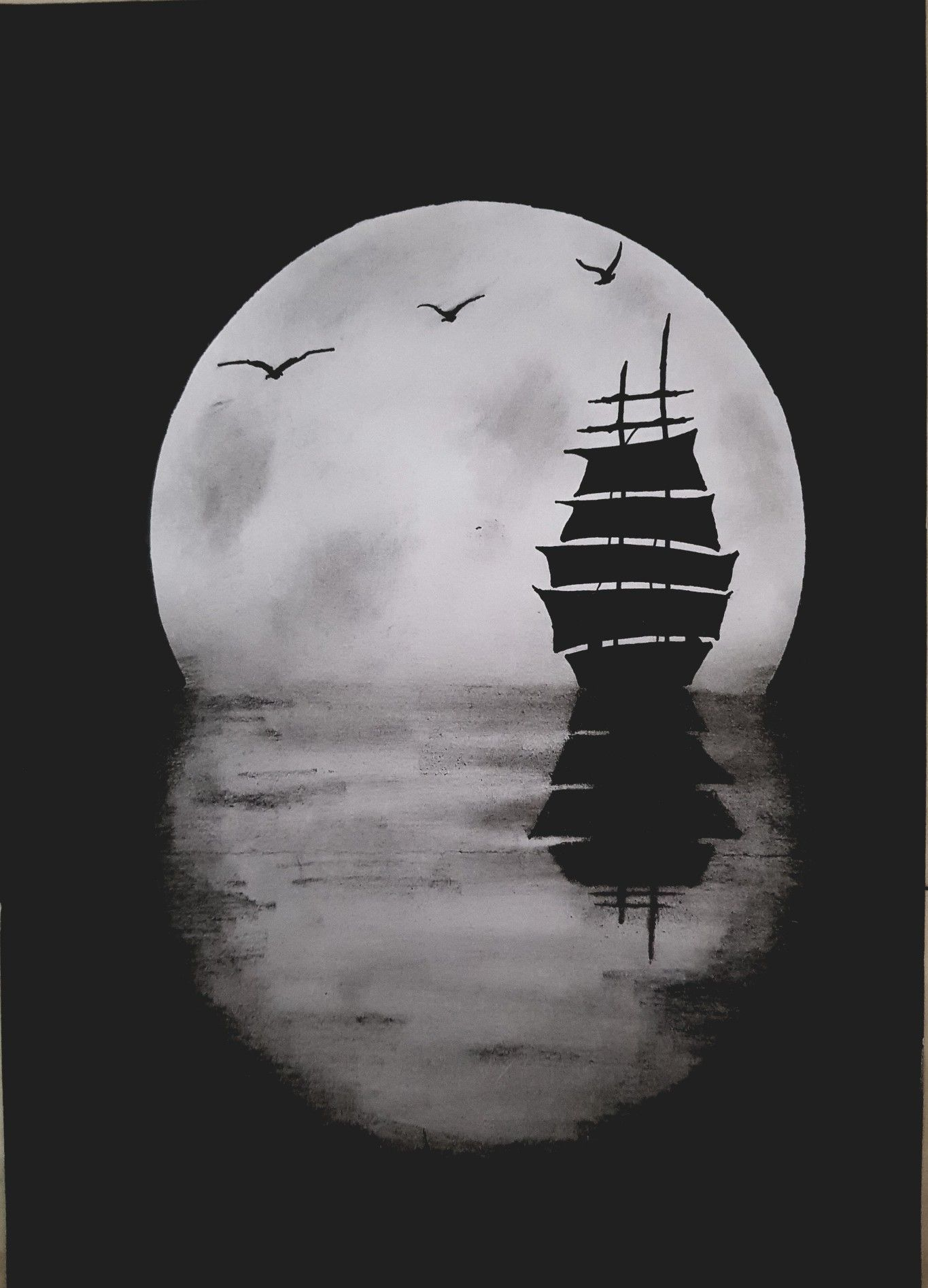 Boat in seat at night birds and moon boat sketch moon sketches boat drawing