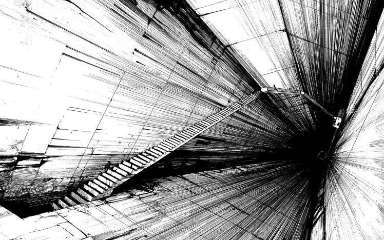 Stairs Manga Tsutomu Nihei Monochrome Hd Wallpaper Desktop