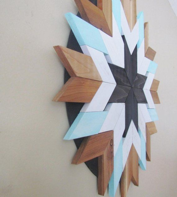 Reclaimed Wood Wall Art, Boho Wood Circle, Geometric, Shabby, Cottage Chic Wood, Beach Decor, Wood Starburst, Sunburst, Distressed Wood #reclaimedwoodwallart