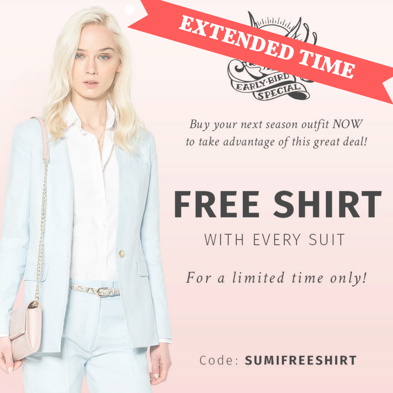 Get your FREE Shirt when buying a suit! All MADE TO MEASURE