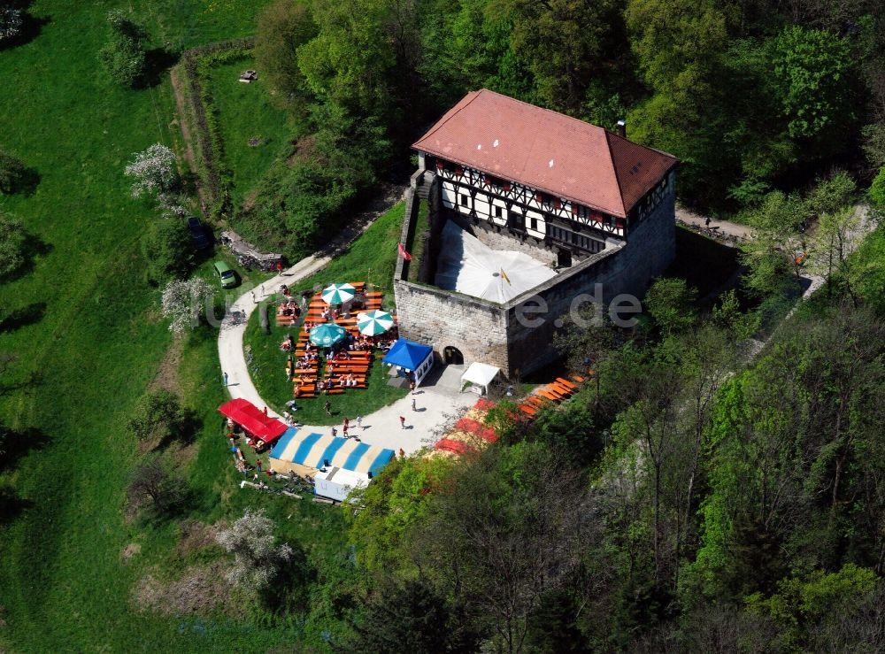 Luftaufnahme Wäschebeuren Burg Wäscherschloss in