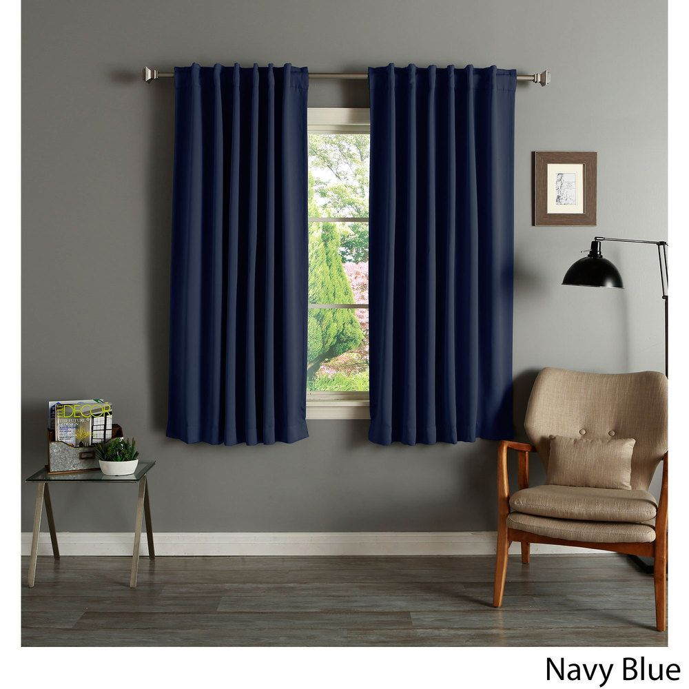 Aurora Home Solid Insulated Thermal 63 Inch Blackout Curtain Panel