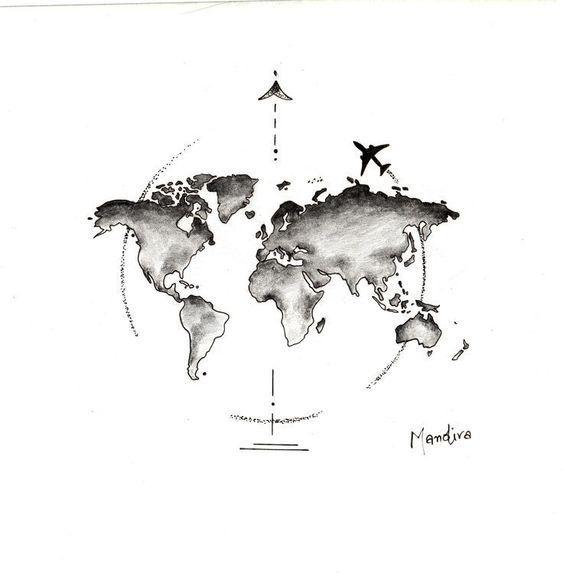 Mapa mundial del globo con diseño de tatuaje de avión por Mandira - # Travel Airplane #tattoostyle - estilo de tatuaje - Mapa del mundo del globo con diseño de tatuaje de avión por Mandira # Travel Airplane #tattoostyle - #Airplane #Avión #con #del #diseño #estilo #globo #Mandira #mapa #móveisparacasa #mundial #Por #tattoostyle #tatuagens #Tatuaje #travel