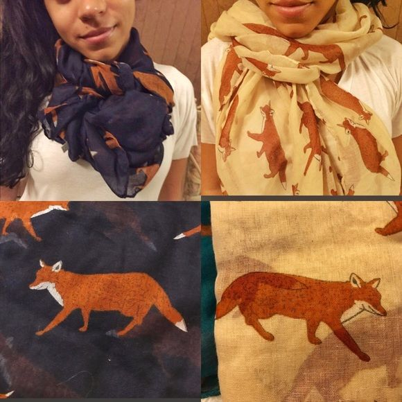 Vintage-style Light Scarf Light and airy scarf perfect for the cooler nights of Summer. Great to keep in your purse or car. Whimsical fox patter printed on both sides. Polyester fabric. Please specify which color you are interested in. Accessories Scarves & Wraps