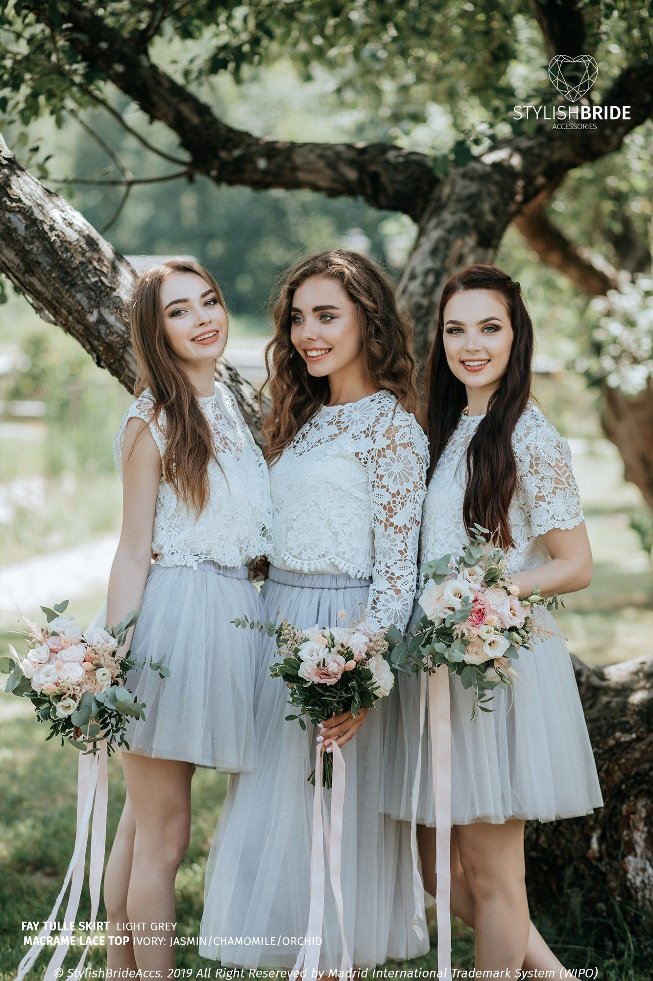 Macrame Bridesmaids Separates Macrame Lace Crop Top and   Etsy in ...