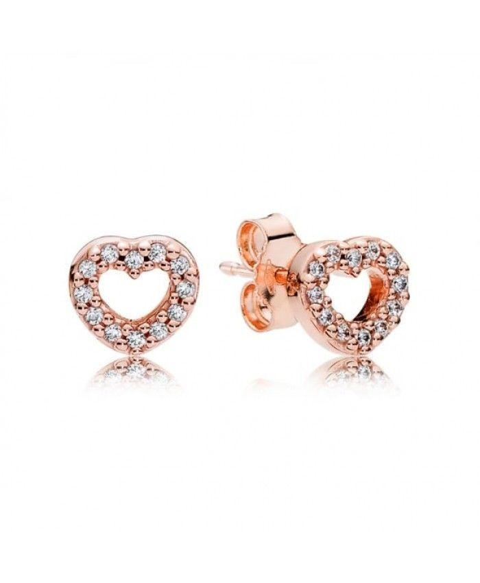 Pandora Rose Gold Captured Hearts Stud Earrings 280528cz Uk