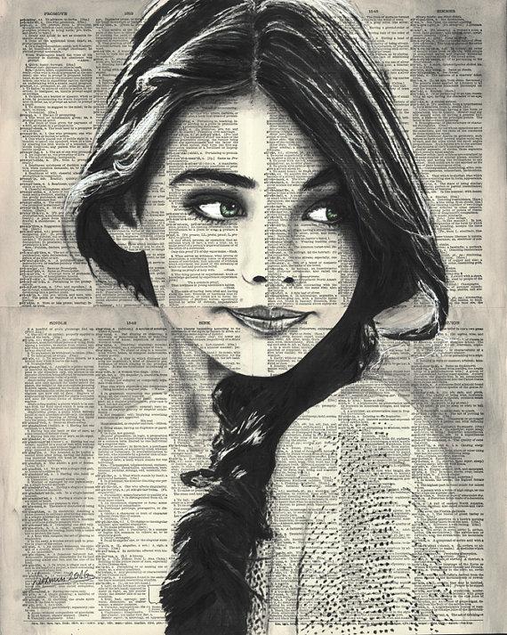 Woman Portrait 2 16x20 Original Ink/Watercolor by reBookART #womans #face #portrait #artprint