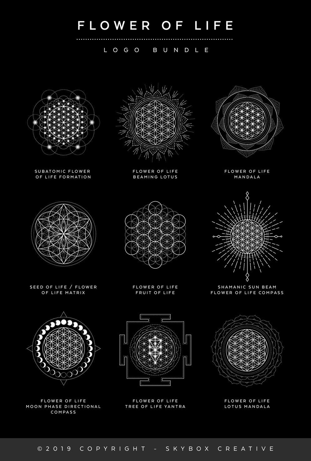 This Flower of Life poster shows various sacred formations