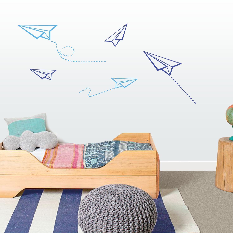 Vinilo infantil aviones de papel decoraci n habitaci n for Vinilo habitacion nina