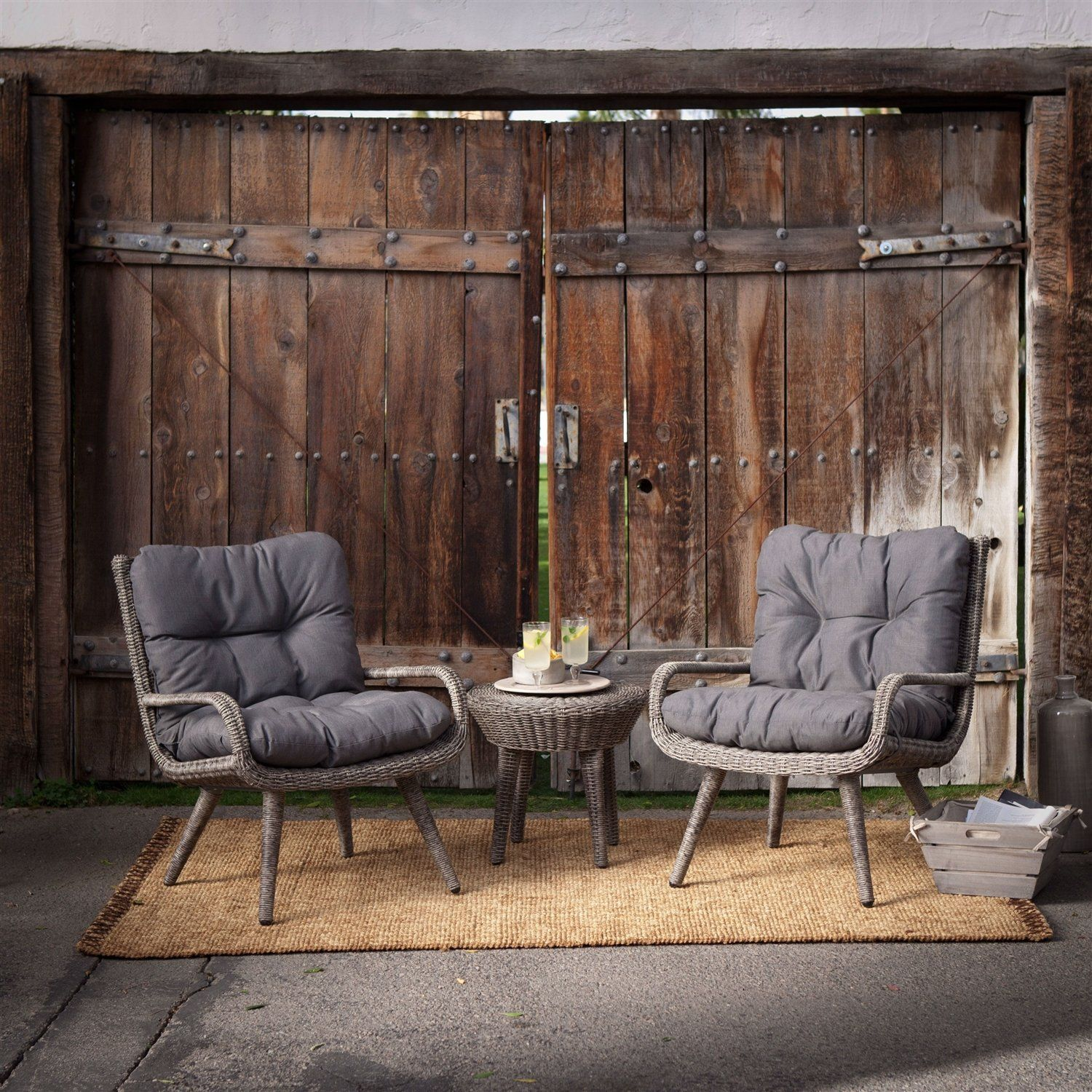 Weather Resistant Wicker Resin Patio Furniture Set with 2 Chairs Cushions and Side Table #resinpatiofurniture