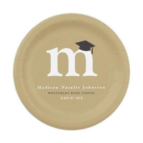 Simple Classic Monogram Graduation Paper Plates  sc 1 st  Pinterest & Simple Classic Monogram Graduation Paper Plates | Modern Graduation ...
