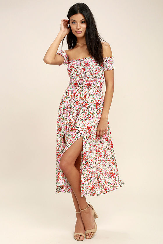 b24cd70a3269 The View from the Meadow Cream Floral Print Off-the-Shoulder Dress enchants  with its simple sophistication! A kaleidoscope of pink