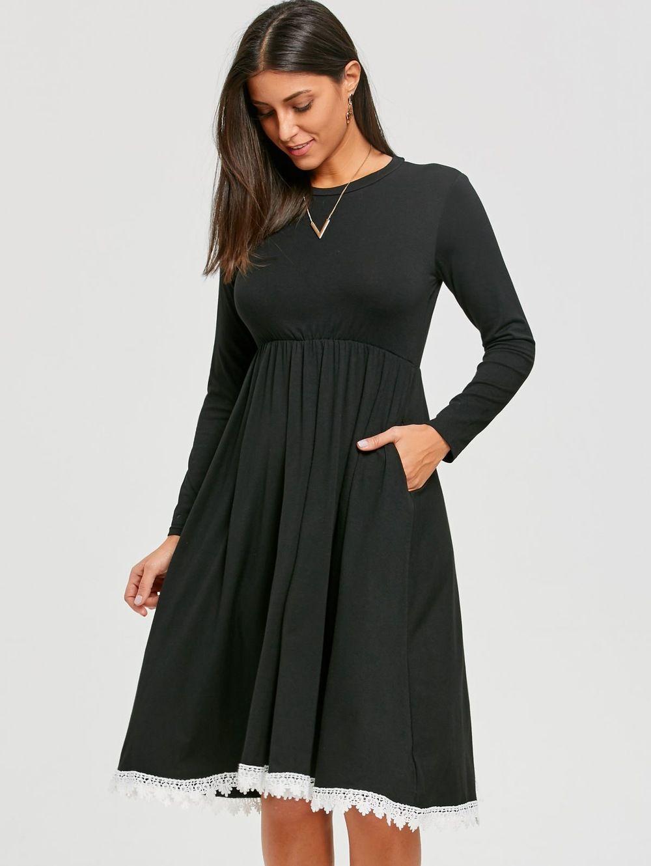Crochet panel long sleeve two tone dress dress online sleeved
